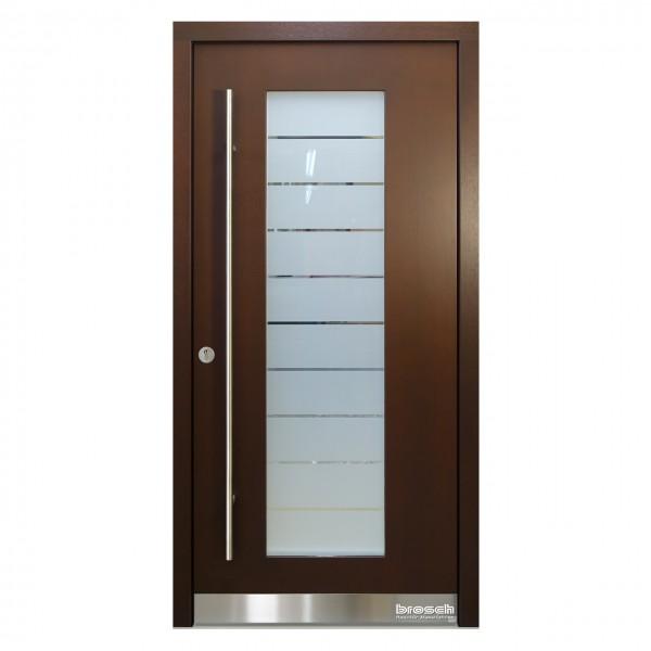Haustür modern aus Holz Origo 40 Lasurton Walnuss