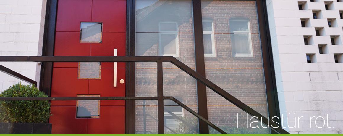 Haustür rot aus Holz